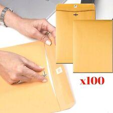 100pcs 9x12 28lb Kraft Shipping Mailing Gummed Business Manila Clasp Envelopes