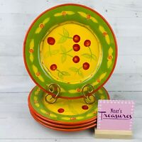 HausenWare Stoneware Cherries Orange Rim Green Trim Yellow Dinner Plates Set 4