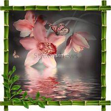 Sticker autocollant Cadre bambou Orchidée et papillon7167