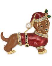 Holiday Lane Gold Tone Christmas Hot Dog Pin C13