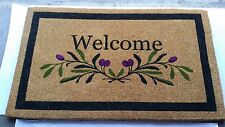 "Olive Border Welcome Coir Fiber Mat 36"" x 72"" x 2"""