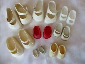 8 Pair VTG 1950-1960's Plastic Mary Jane Doll Shoes Fairyland Toy Prod Hong Kong
