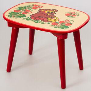 Wooden Khokhloma Stool for Kids Playroom Bedroom. Russian Style Hohloma Patterns