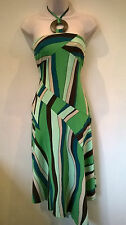 NEXT UK 8 gorgeous green mix halter neck asymmetric dress with ties