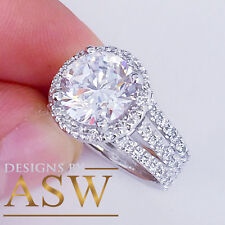 HUGE 14K SOLID WHITE GOLD ROUND CUT SIMULATED DIAMOND ENGAGEMENT RING HALO 4.00