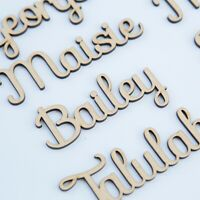 Personalised Script Wooden Princess Cake Topper Any Name MDF Crown Heart Stand