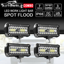 "4x 7"" 120W LED Work Light Bar Spot Flood Offroad For Jeep Truck Driving Fog Lamp"