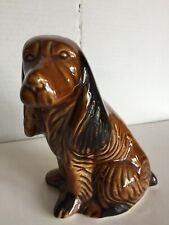 Vtg Cocker Spaniel Figurine Ceramic Brown Glaze Bassett Hound Dog Statue Brazil