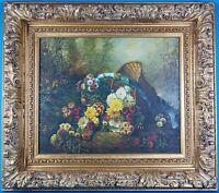 Baker Style Gold Ornate Gilt Wood Frame w/ Unsigned Still Life Oil Painting