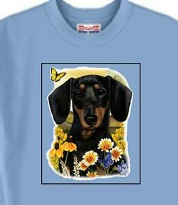 Dog T Shirt - Dachshund with Flowers --------- Also Sweatshirt Available