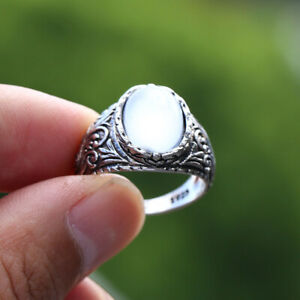 Men Vintage White Moonstone Ring With Hand-Carved Flower Pattern Noble Jewelry