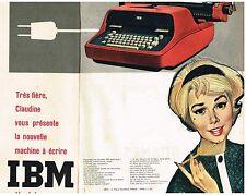 D- Publicité Advertising 1959 (1 page et 1/2) La Machine à écrire IBM électrique
