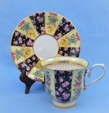 VINTAGE CHINA DEMITASSE CUP AND SAUCER SET FLORAL GOLD