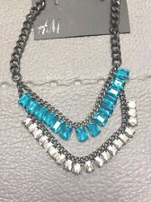 H&M NWT Faux Blue Silver Gems Drop Grey Gray Layers Statement Necklace