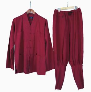 Cotton and linen Shaolin monk thin free leggings Kung Fu Wing Chun training set