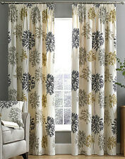 Dandelion Floral Lined Pencil Pleat Curtains - MATCHING BEDDING ALSO AVAILABLE