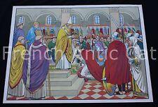 Affiche scolaire vintage Couronnnement Charlemagne Clovis Pavois MDI 91*68 U932