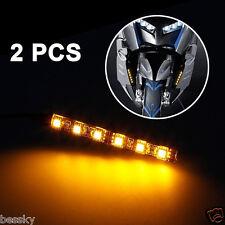 2xMini Strip Black 6 LED Motorcycle Turn Signal Universal Amber lights Strip 12V