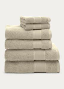 NEW! Ralph Lauren Sanders Tan 6 Pc Bath & Hand Towel & Washcloth Set