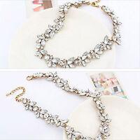 Charm Crystal Flower Pendant Choker Chunky Statement Collar Bib Necklace Chain