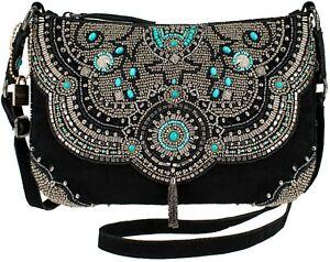 Mary Frances Trail Blazer Blackk Turquoise Saddle Suede Crossbody Bag Handbag NW