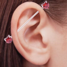 Ear Industrial Barbell With Red Heart Shape Jeweled Surgical Steel 14G 38mm