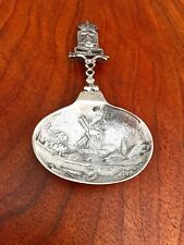 Dutch .835 Silver Caddy Spoon with Crowned Arms Finial and Picture Bowl