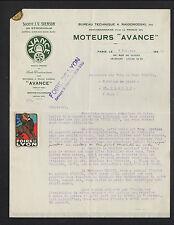 """PARIS (IX°) USINE Svenson (SUEDE) MOTEURS Avance """"A. RAIGORODSKI"""" en 1923"""