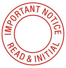 IMPORTANT NOTICE READ & INITIAL Xstamper Classix P17 RED Self-inking stock stamp