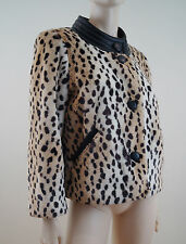 See by Chloe Donna Snow Leopard stampa in finta pelliccia finiture in pelle giacca UK14; I46