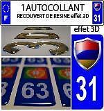 1 sticker plaque immatriculation auto DOMING 3D RESINE DRAPEAU ARMENIE DEPA 31