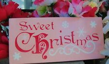 Chic and Shabby Sign Sweet Christmas Glitter Sign Pink with  Snowflakes