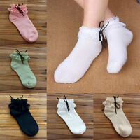 Women Vintage Lace Ruffle Frilly Ankle Socks Princess Fashion Girls Cotton Udww
