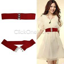 Fashion Cinch Buckle Women 2 Inch Wide Stretch Elastic Waist Belt Red US