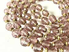 Long Glass Beaded Necklace - 50inch Vintage Bohemian Amethyst Purple Could Czech