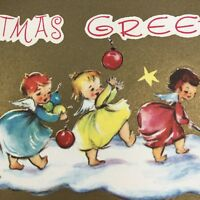 Vintage Mid Century Christmas Greeting Card Cute Little Girls Angels Ornaments