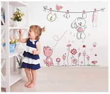 Pink Cat Flowers and a Rabbit Wall Sticker DIY Teddy Bear Kids Rooms Home Decor