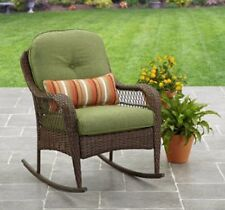 Wicker Porch Rocking Chair Cushion Patio Furniture Outdoor Rocker Deck Green New