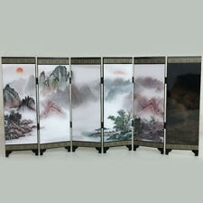 6 Panels Folding Room Divider Chinese Mountains Wooden Separator Privacy Screen