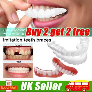 Unisex Snap On False Teeth Lower Upper Dental Veneers Dentures Fake Tooth Covers