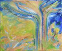 """Art abstrait Peinture sur toile, Paysage, Nature, signé HZEN, """"UN ARBRE, AU SUD"""""""