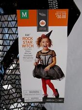 Rock Star Witch Black Halloween Cosplay Costume Dress Hat Girls M HA8b NWT