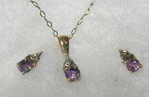 "14k Yellow Gold Necklace & Earring Set w/ Diamonds & Amethyst 17.5"" fine chain"