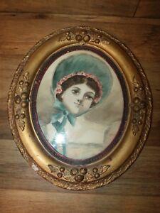 Antique ca 1880's Primitive Americana Watercolor Portrait Folk Art Blue Bonnet