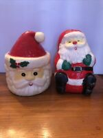 "Vintage Christmas Decoration Candle Santa Claus Head Face Wax Art Lot 6"" Set"