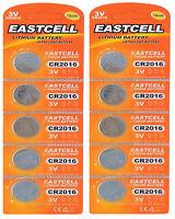 10 x CR2016 3V Lithium Knopfzelle 75 mAh ( 2 Blistercard a 5 Batterien )EASTCELL