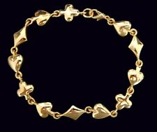 "Card Suites/Gambling Theme Bracelet 8"" Gold Tone /Hearts, Spades, Clubs, Diamond"