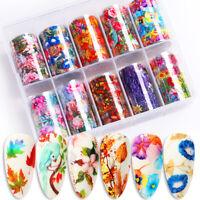 10Pcs Nagel Folien Abziehbilder Blumen Design Nail Art Transfer Stickers Paper