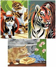 SET OF 3 KITS PAINT BY NUMBERS & BRUSH CATS, KITTENS & TIGER ACRYLIC PAINTINGS
