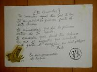 FRIDA KAHLO COLOR CRAYON INK SIGNED & SEAL DRAWING W /PERSONAL NOTE¿Te acuerdas?